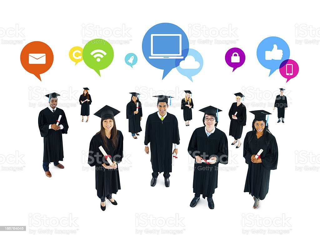 The Social Networking of Graduating Students royalty-free stock photo