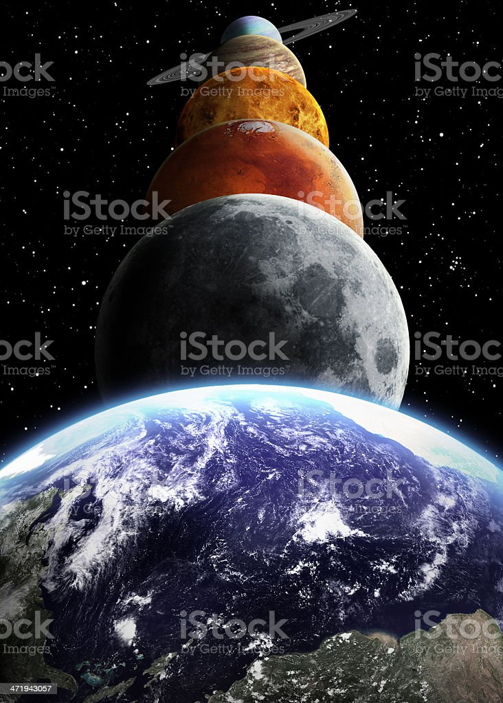 The solar system along with other celestial bodies  stock photo