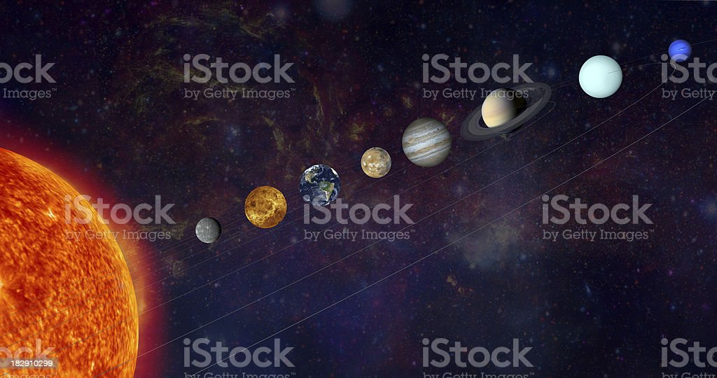 The solar system in a line stock photo