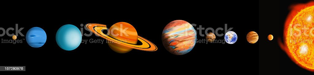 The Solar System (scaled) stock photo