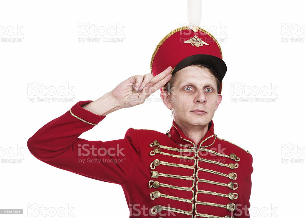 The soldier in ancient form stock photo