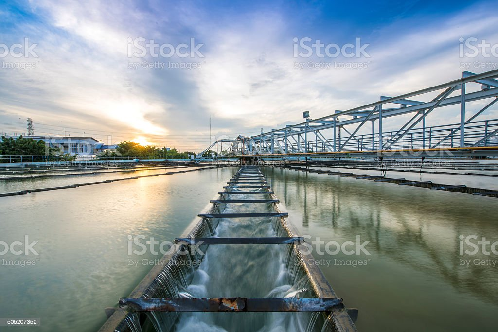 The Solid Contact Clarifier Tank in water treatment plant stock photo
