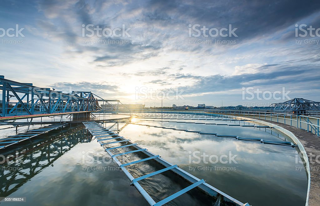 The Solid Contact Clarifier Tank type Sludge Recirculation proce stock photo