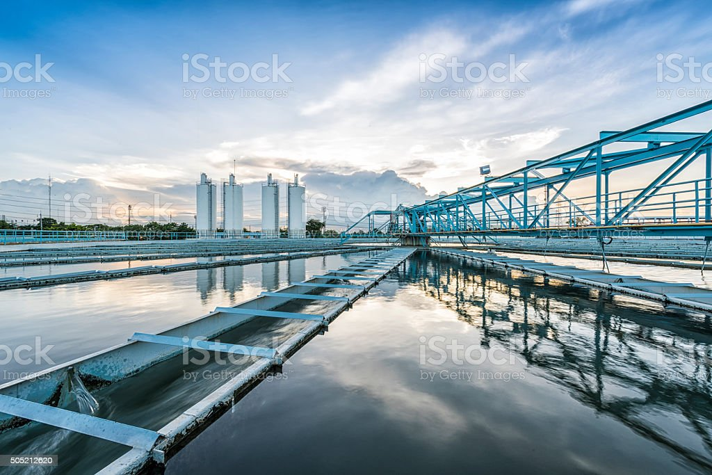 The Solid Contact Clarifier Tank type with blue sky stock photo