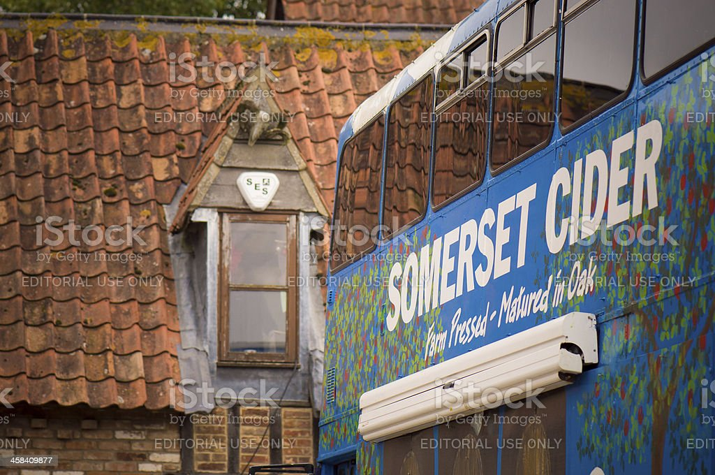 The Somerset Cider bus and a roof stock photo