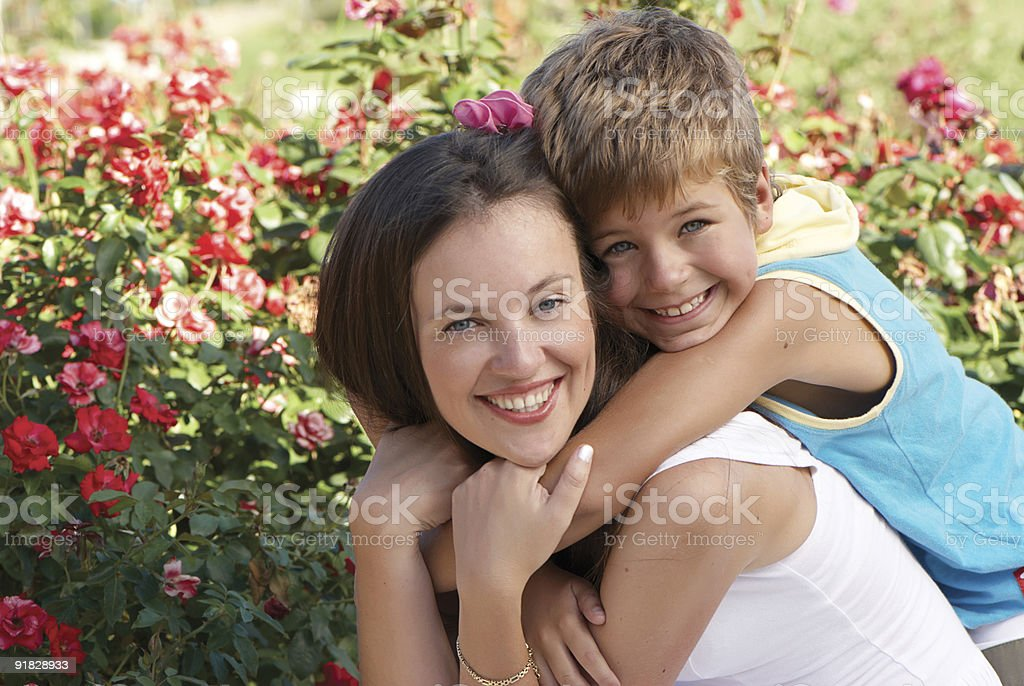 The son and mother in park royalty-free stock photo