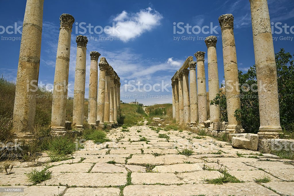 The South Decumanus in Jerash stock photo