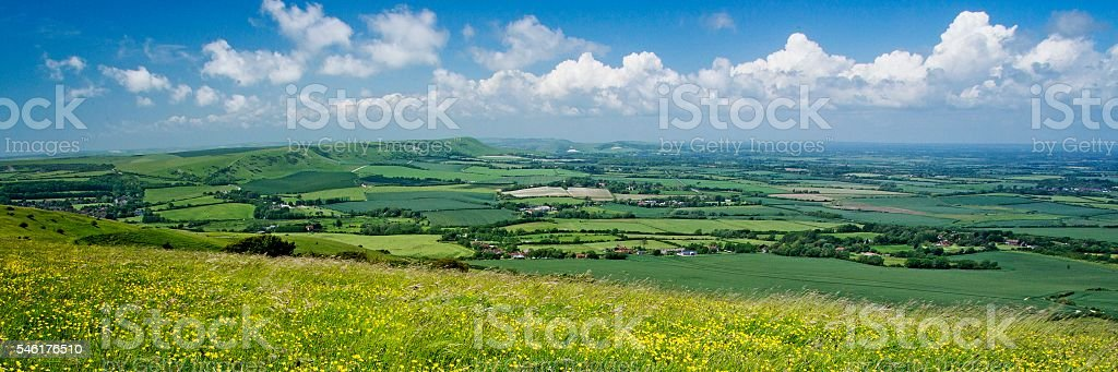 The South Downs under a summer sky stock photo