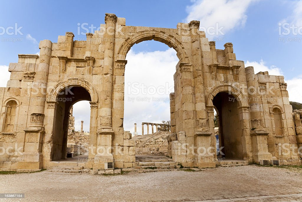 the south gate of ancient jerash, jordan stock photo