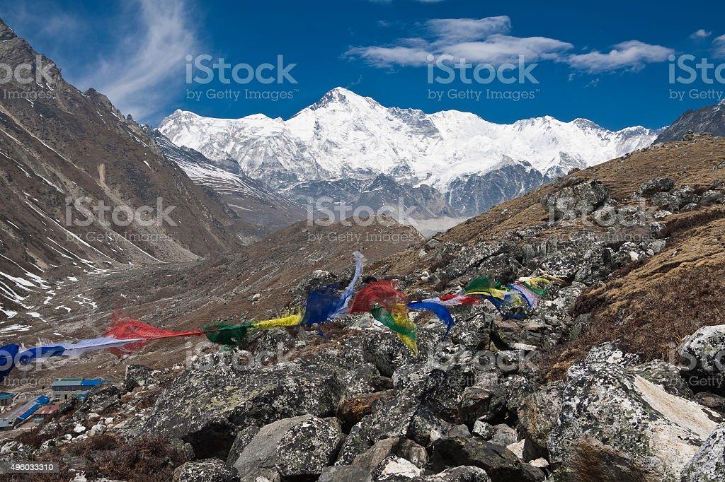 The south side of Cho Oyu from Gokyo. Himalayas. Nepal stock photo