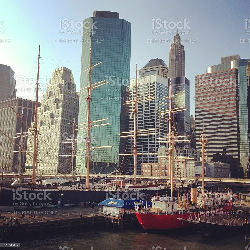 The South Street Seaport in New York royalty-free stock photo