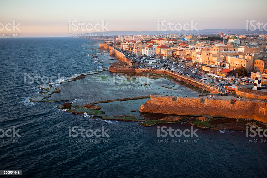 The southern coast of old city of Akko, Israel. stock photo