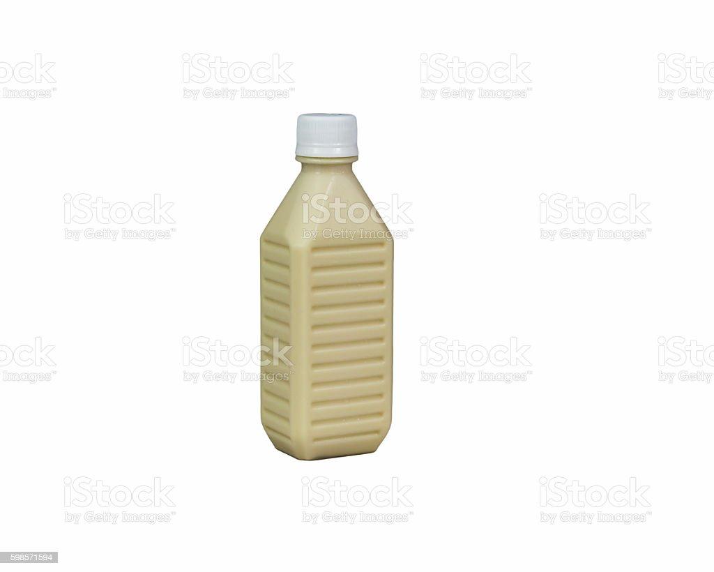 The soy milk bottle isolated on white stock photo