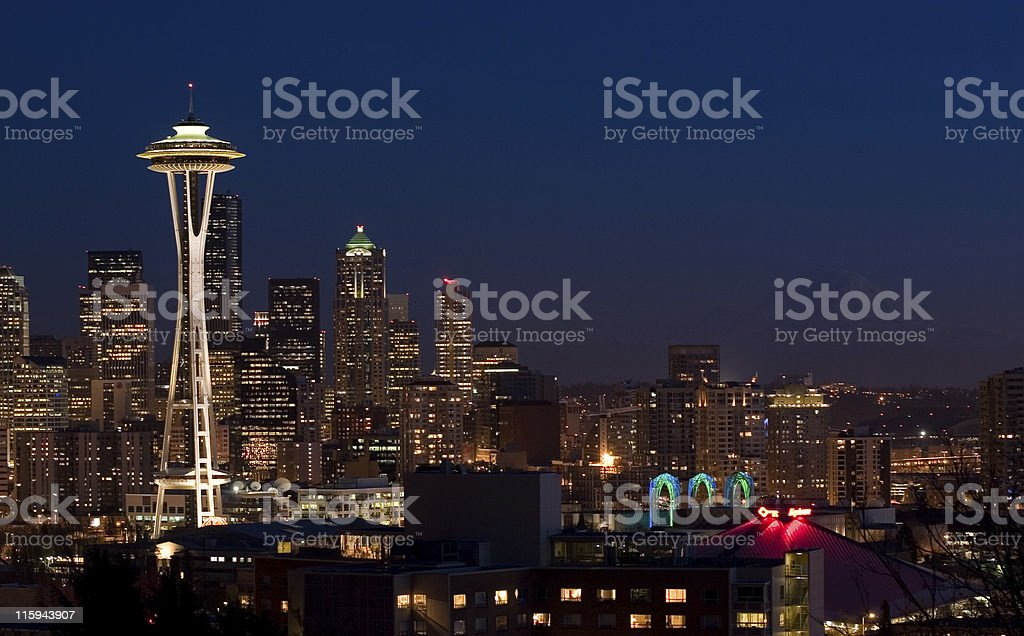The Space Needle in Seattle, WA royalty-free stock photo