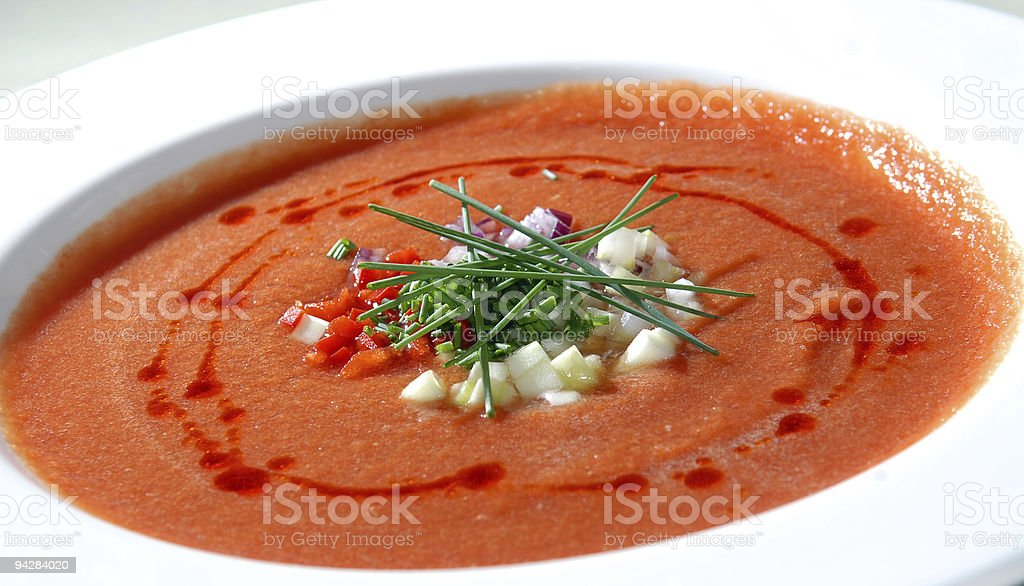 The Spanish tomato soup gazpacho stock photo