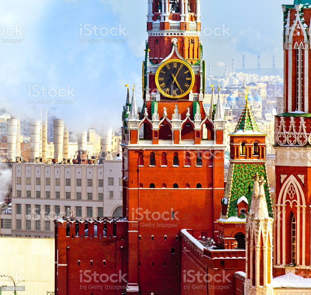 The Spasskaya Tower in Moscow stock photo