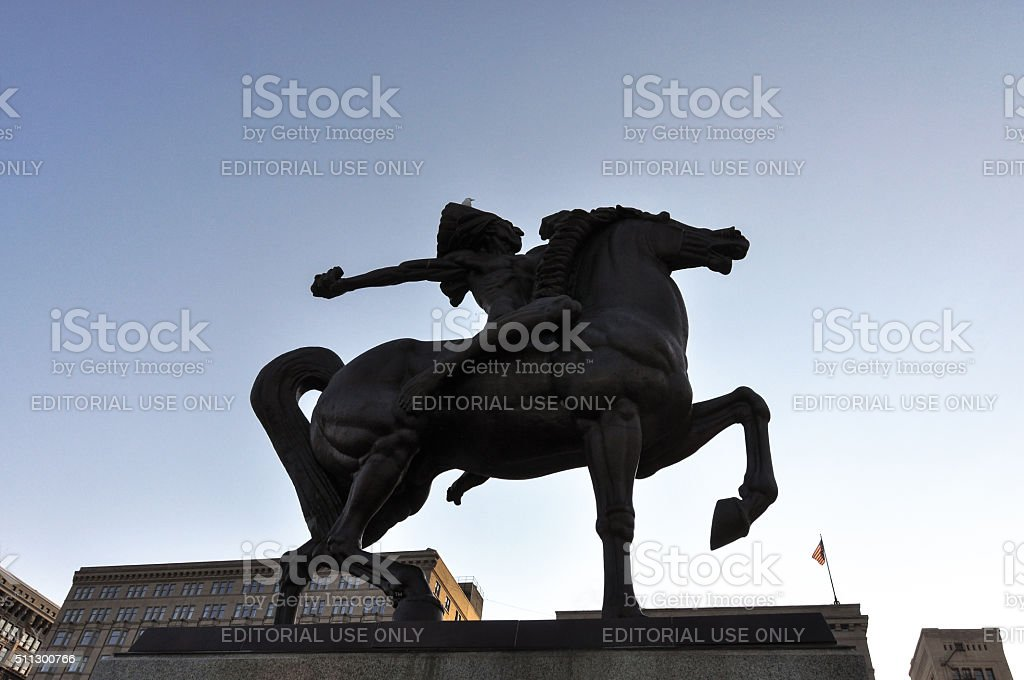 The Spearman Statue in backlight, Chicago stock photo