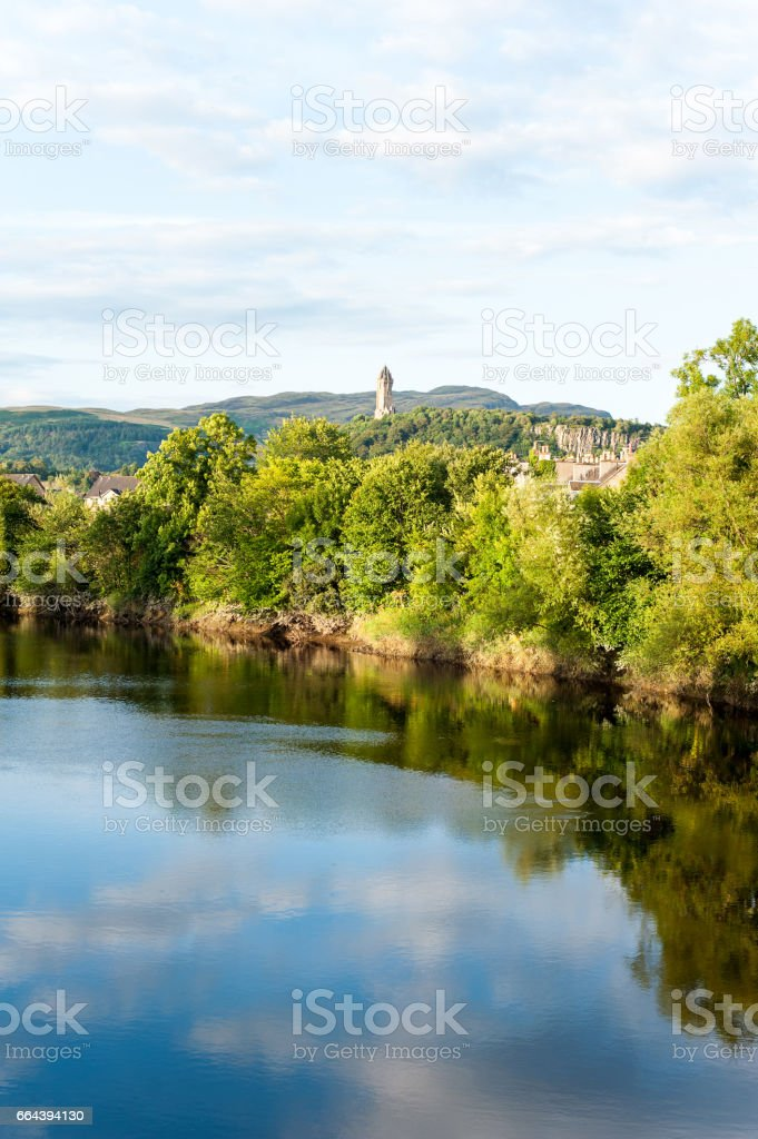 The spectacular view of scottish nature with National Wallace Monument stock photo