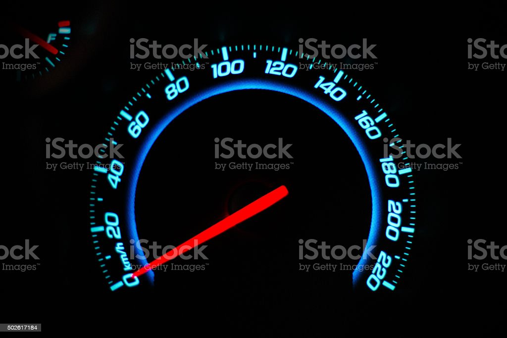 The speedometer dashboard of the car closeup stock photo