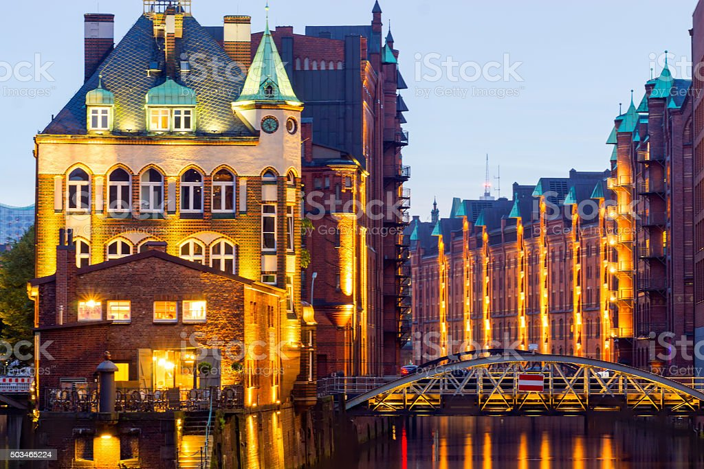 The Speicherstadt in Hamburg stock photo
