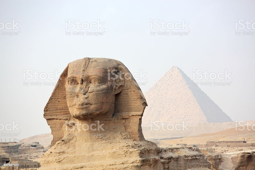 The Sphinx and ancient Egyptian pyramid stock photo