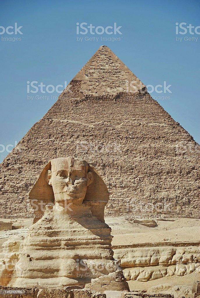 The Sphinx and Chephren pyramid royalty-free stock photo