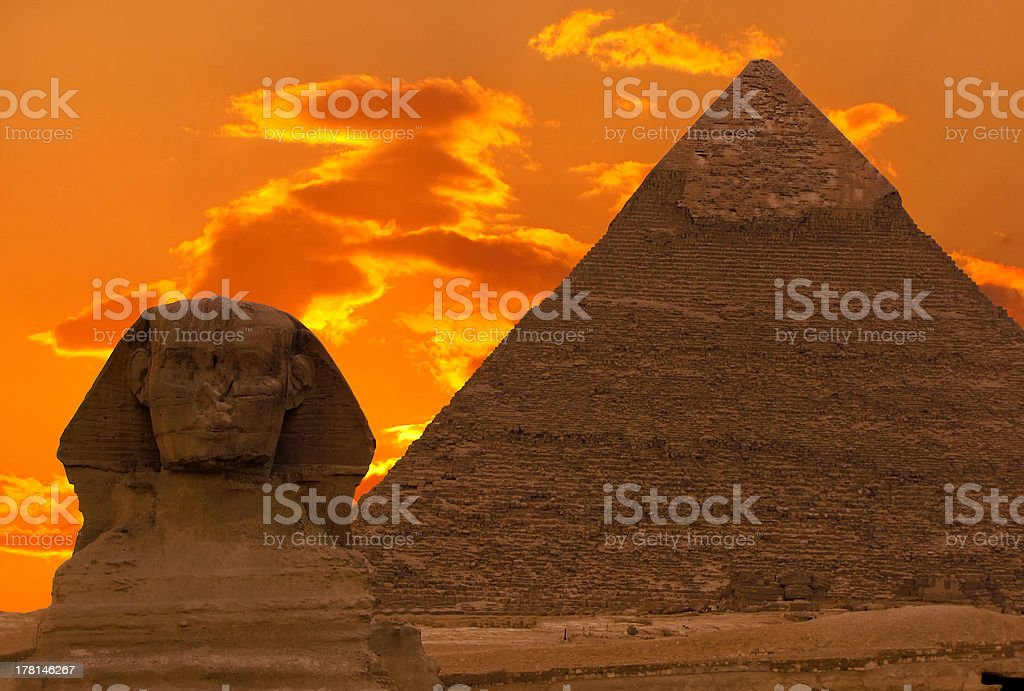 The Sphinx and Great Pyramid, Egypt stock photo