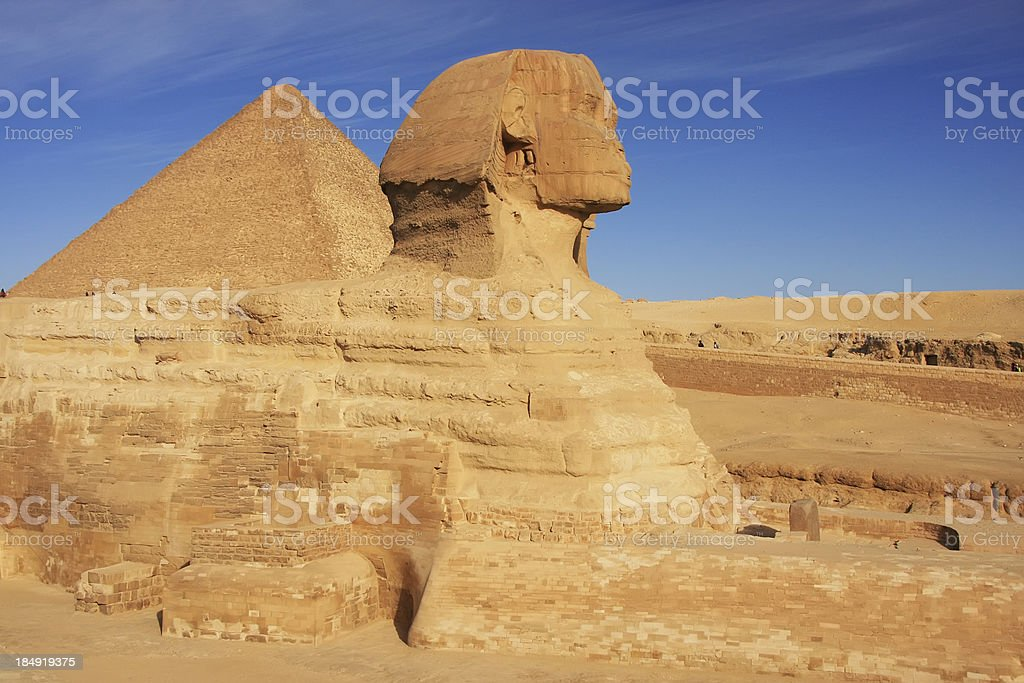 The Sphinx and Great Pyramid of Khufu, Cairo, Egypt royalty-free stock photo