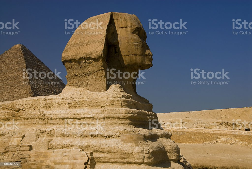 The Sphinx and Great Pyramid stock photo