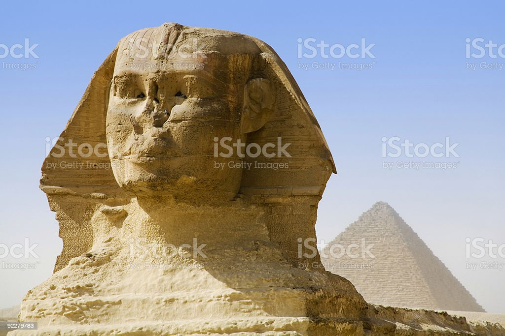 The Sphinx and Mikerinus Pyramid stock photo