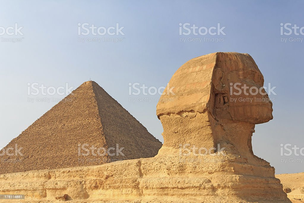 The Sphinx and Pyramid of Cheops at Giza, Egypt royalty-free stock photo