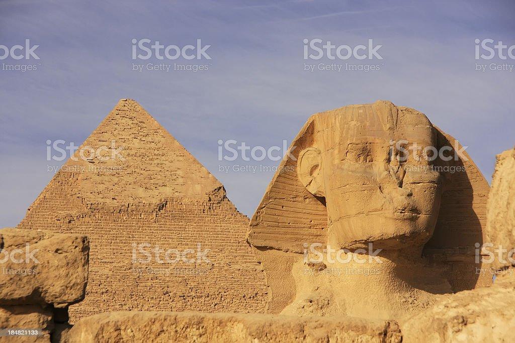 The Sphinx and Pyramid of Khafre, Cairo, Egypt royalty-free stock photo