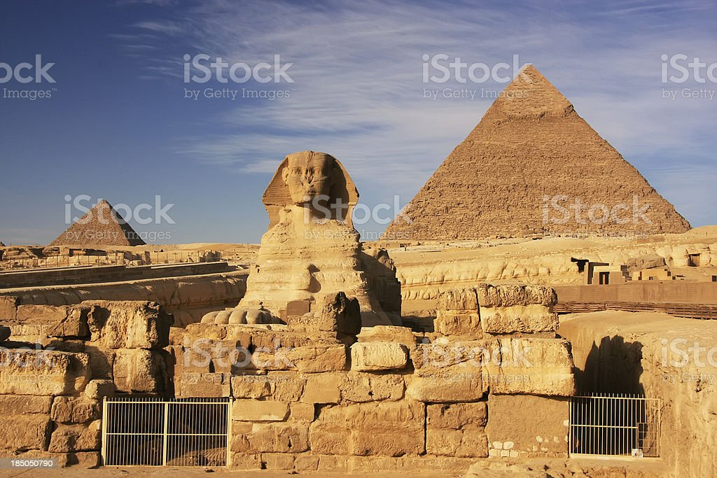 The Sphinx and Pyramid of Khafre, Cairo, Egypt royalty-free stock photo