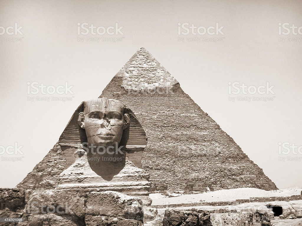 The Sphinx and Pyramid of Khafre royalty-free stock photo