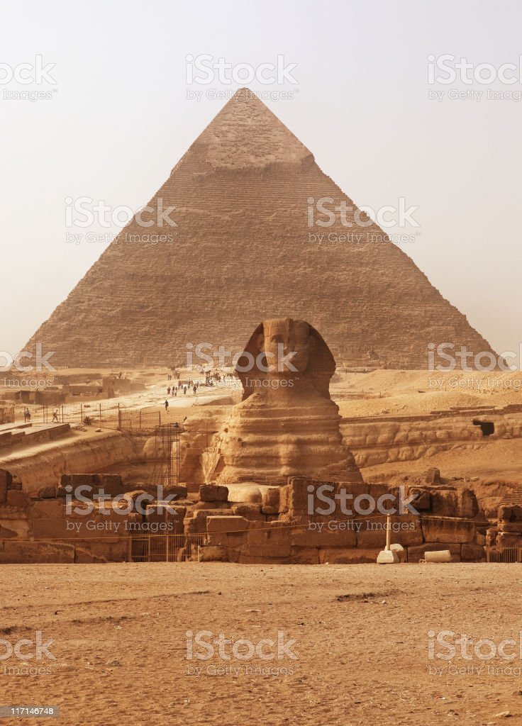 The Sphinx and Pyramid stock photo