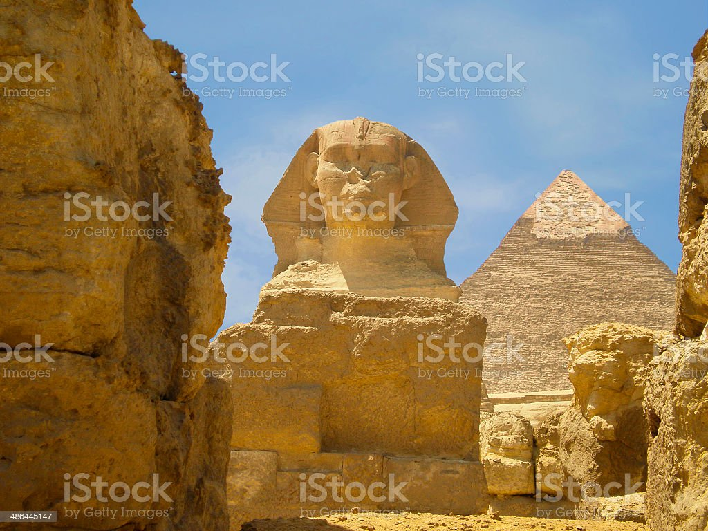 The Sphinx and Pyramid royalty-free stock photo