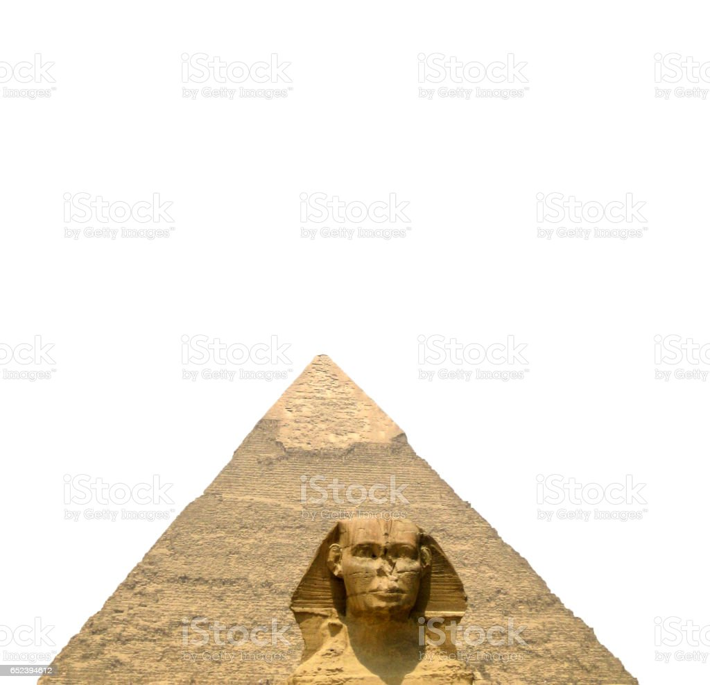 The Sphinx and the great pyramid isolated on white background stock photo