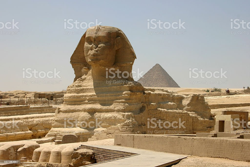The Sphinx with a pyramid stock photo