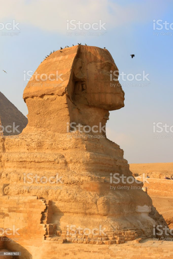 The Sphinx with the likeness of Khafre and a lions body at Giza in Egypt stock photo