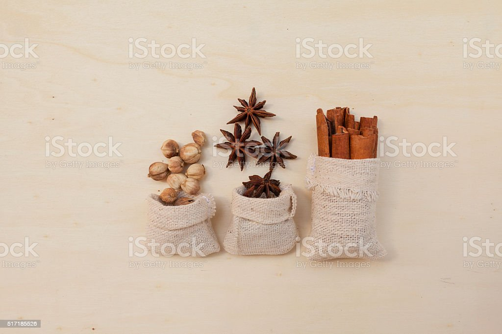 The spices bag on wooden table background stock photo