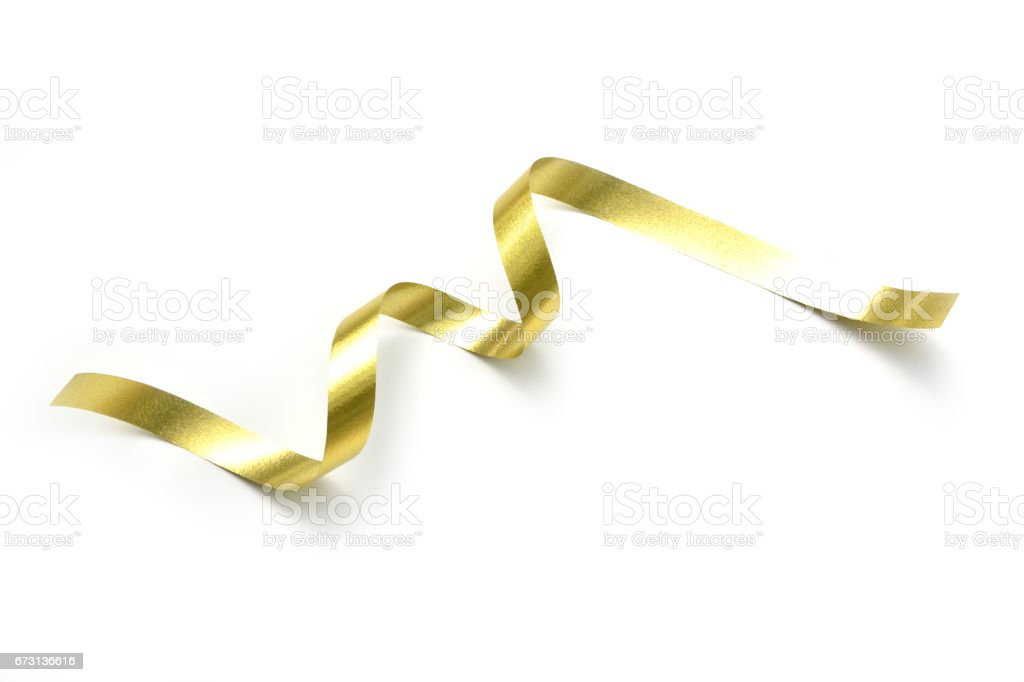 the spiral golden ribbon isolated on white background. stock photo