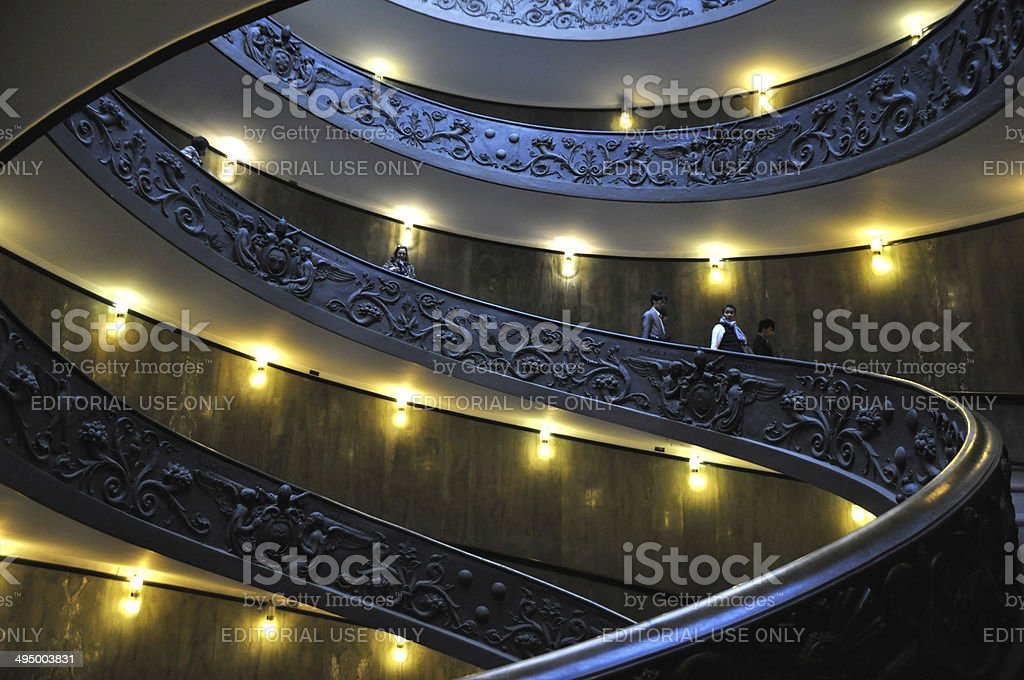 The Spiral Staircase, Vatican Museum, Rome stock photo