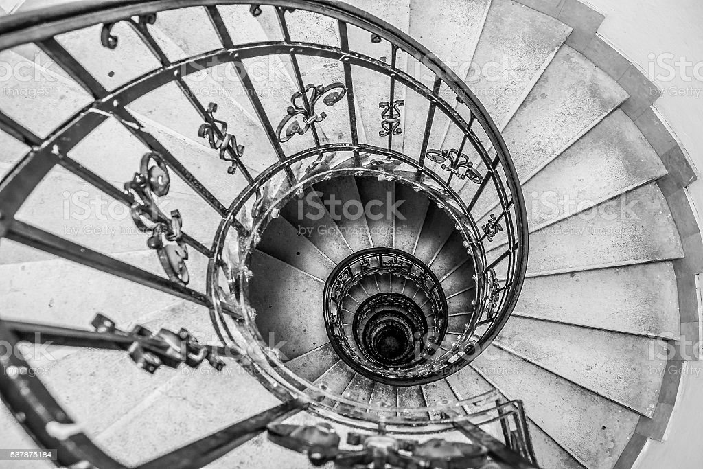 The Spiral stairs St.Stephen's Basilica. Budapest, Hungary stock photo