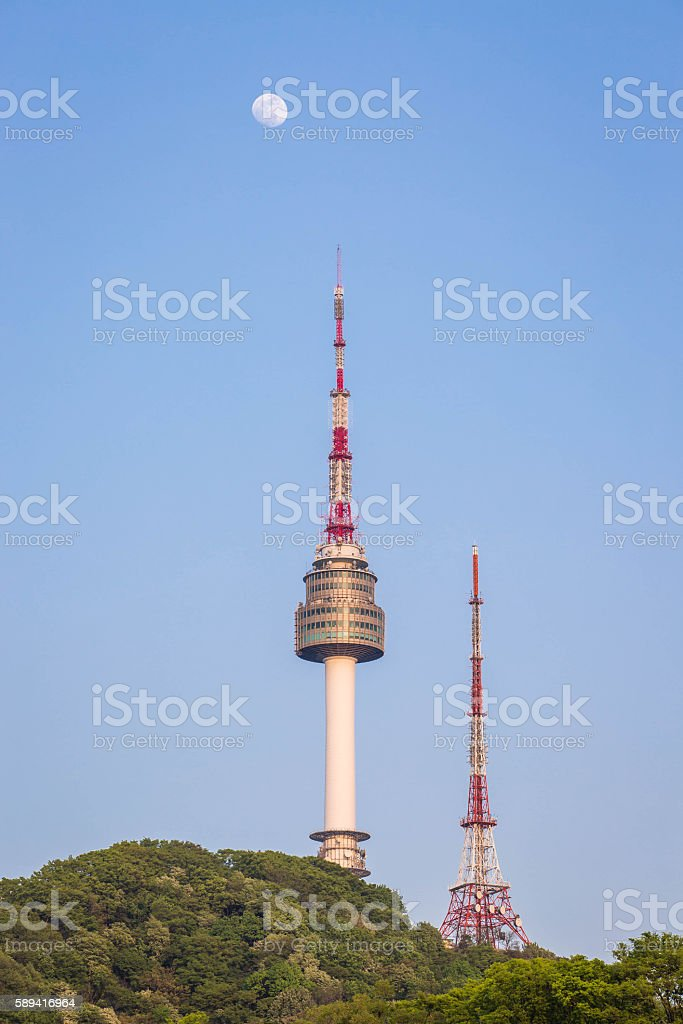 The spire of N Seoul Tower, or Namsan Tower stock photo