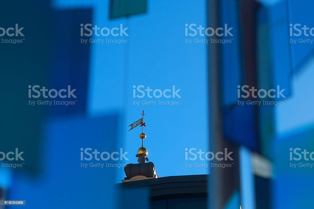 The spire of the town hall in Riga stock photo
