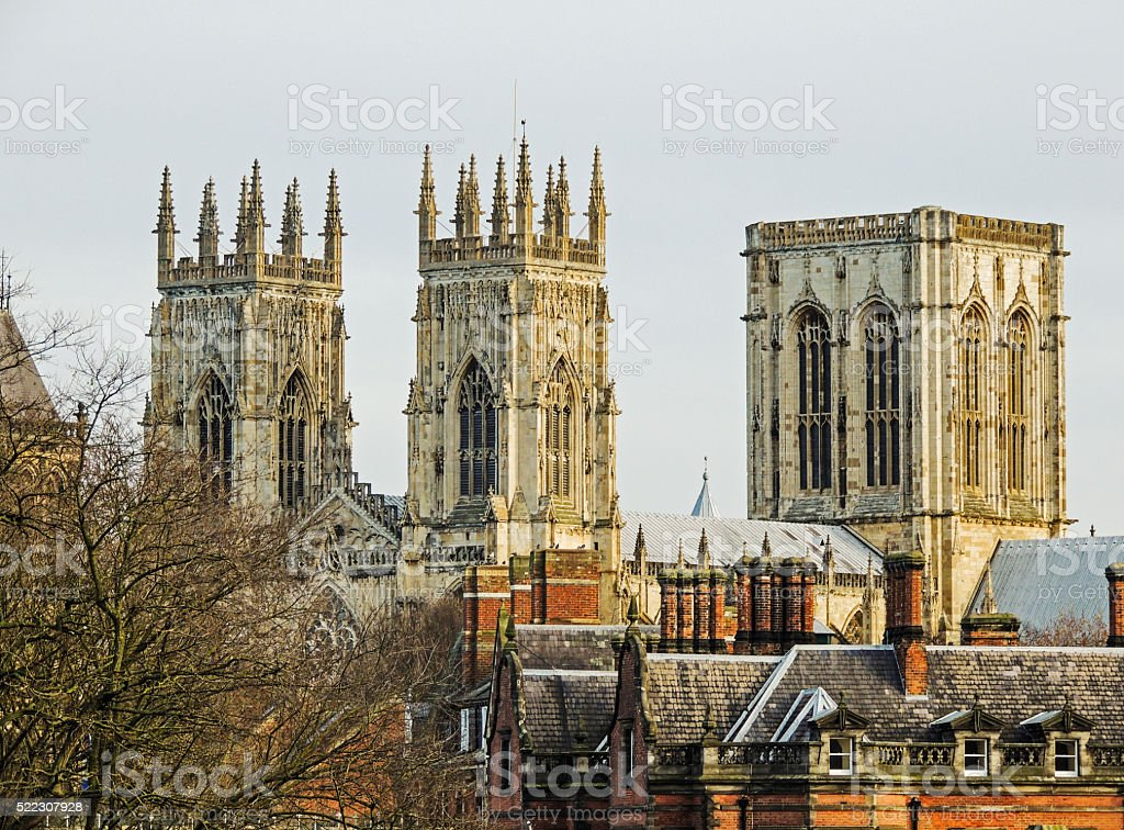 The spires of the York Minster. stock photo