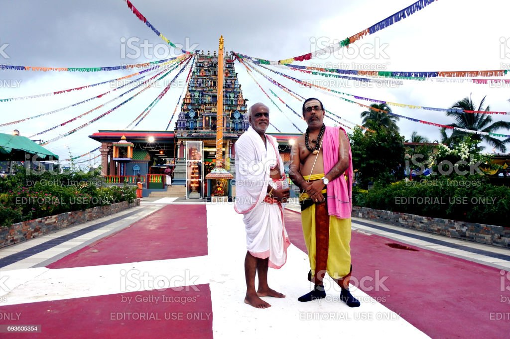 The spiritual leaders of  Sri Siva Subramaniya Hindu temple Nadi Fiji stock photo