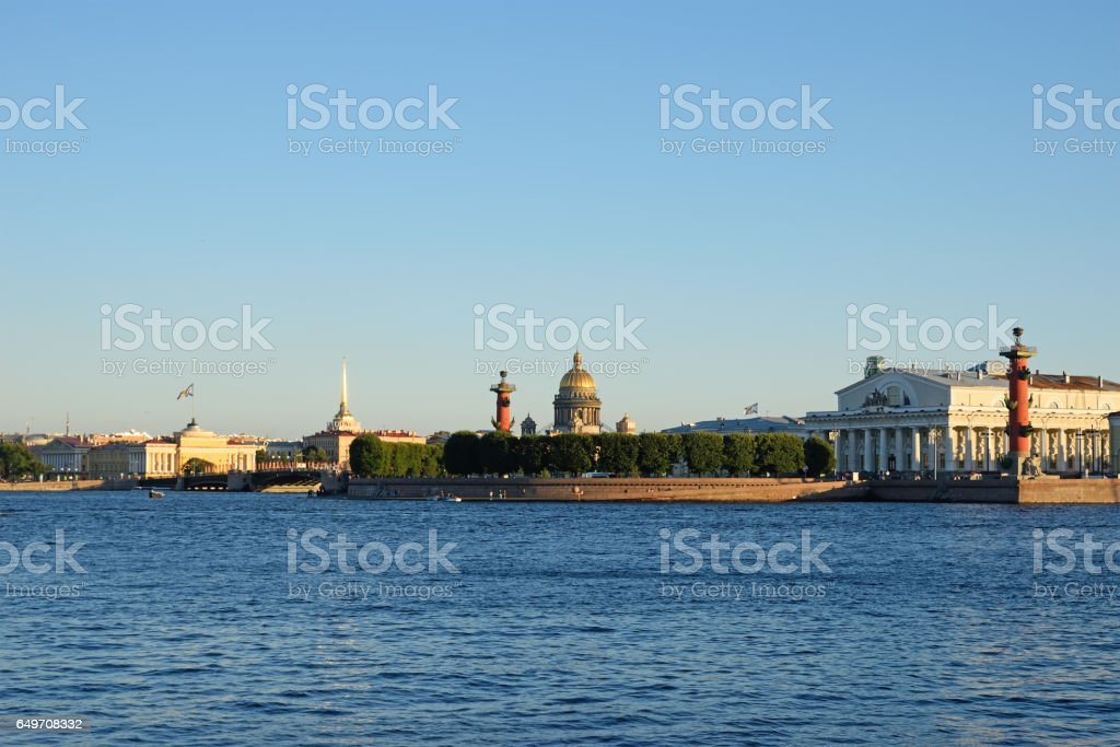 The spit of Vasilievsky island with the hare island in St. Peter stock photo