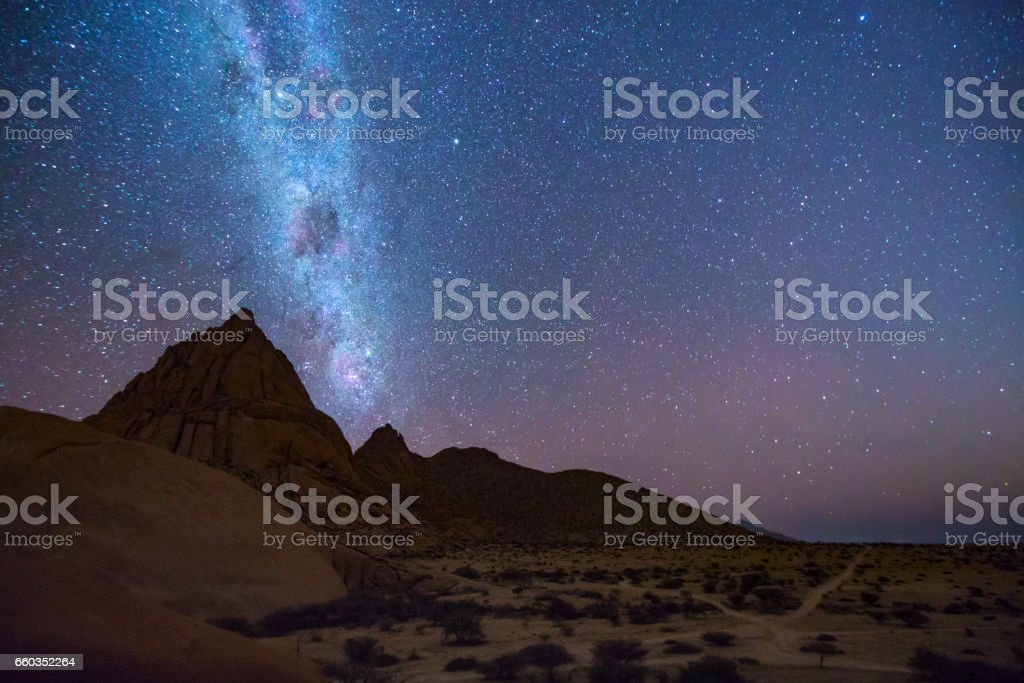 The Spitzkoppe under the Milky Way. stock photo
