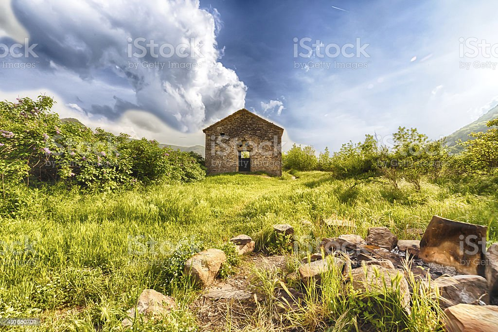The spooky ethereal house in the forest royalty-free stock photo